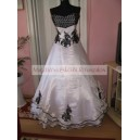 Wedding dress-white+black-dussesz+organza